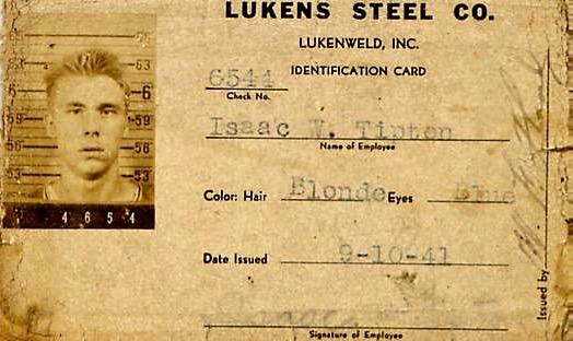 Isaac Tipton, Sr. Lukens Steel ID card